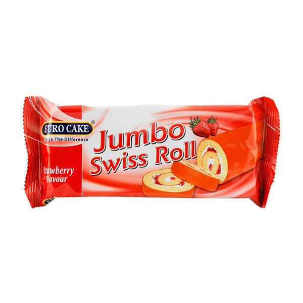 EUROCAKE JUMBO SWISS ROLL STRAWBERRY 60GM